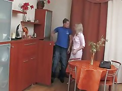 Dirty russian mom open her pussy for young guy