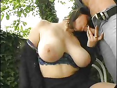 Awesome busty mature - fun in the garden